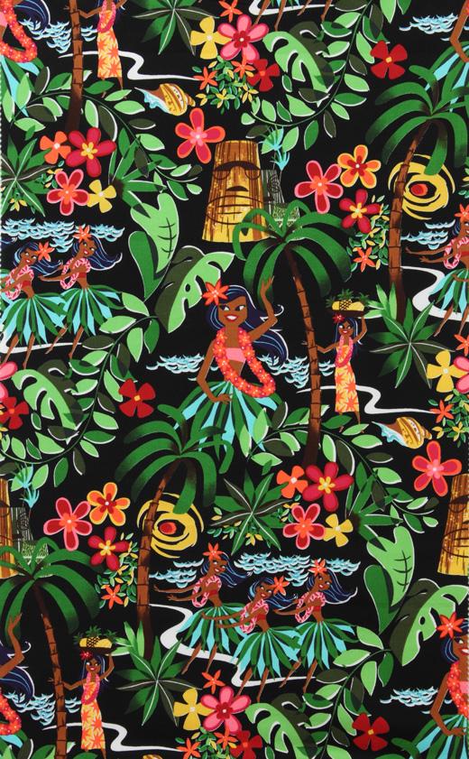 Leis, Luaus, and Alohas Black Fabric