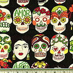 Gotas de Amor Day of the Dead Eggplant Fabric