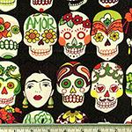 Gotas de Amor Day of the Dead Eggplant Fabric