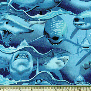Dangerous Waters Shark Turquoise Fabric