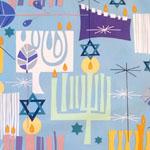 Modern Menorah Light Blue Fabric