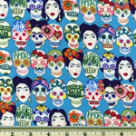 Knifty Knit Gotas de Amor Skull Frida Head Blue Fabric