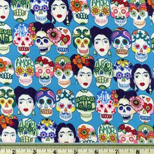 Knifty Knit Gotas de Amor Skull Frida Head Blue Fabric