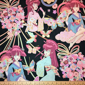 Miss Butterfly Asian Anime Style Pin Up Girls Black