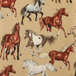 Running Free Horses Tan Fabric