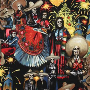 Fiesta de San Marcos Day of the Dead Fabric Midnight