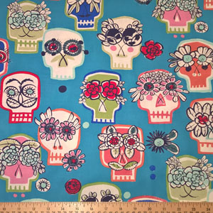 Flower Eyes Day of the Dead Skull Fabric Blue