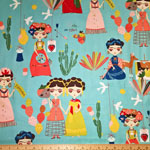 Esperanza Frida Kahlo Fabric Blue-Green