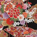 Gilded Botan Japanese Red Gold Black Fabric