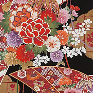 Gilded Botan Japanese Red Gold Black Fabric