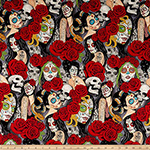 Nocturna Day of the Dead Pin Up Fabric