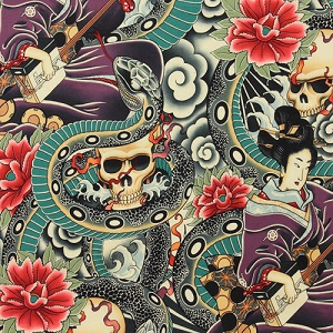 Zen Charmer on Tea Multi Colored Fabric
