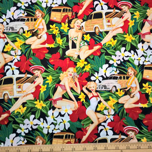 Pin Up Mahalo Girls Black Fabric