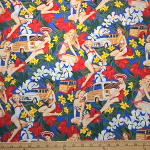 Pin Up Mahalo Girls Blue Fabric