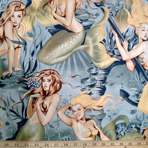 Pin Up Sea Sirens Tea Fabric
