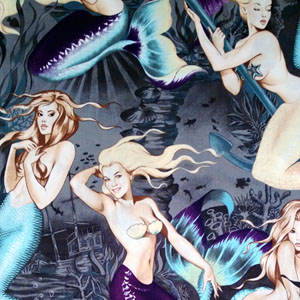 Pin Up Sea Sirens Charcoal Fabric