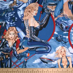 Pin Up Girls Fired Up Blue Fabric