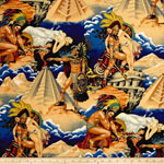 Aztec Legend Warrior Fabric Blue