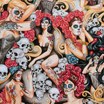 Pin Ups Las Elegantes Day of the Dead Smoke Fabric