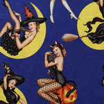 Pin Up Bewitched Fabric on Navy Blue Fabric