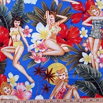 Pin Up Island Girls Blue Fabric