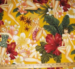 Pin Up Island Girls Yellow Fabric