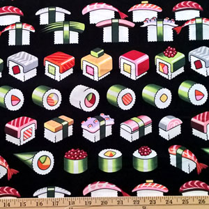 Please Enjoy Sushi Black Fabric