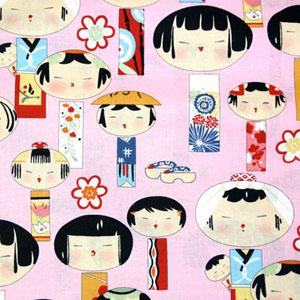 Yui Kokeshi Pink Fabric