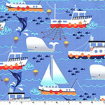 Swim Free Ship Blue Fabric