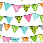 Party Bunting Aqua Fabric