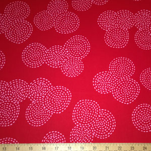 Stitch Circle Sashiko Berry Pink Fabric