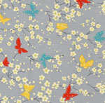 Sea Holly Butterfly Blossoms Gray Fabric