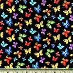 Garden Party Multi-Colored Butterfly Black Fabric