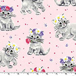 Furry Princess Kitten Cat Vintage Pink Fabric