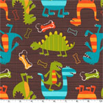 Dino Dudes Brown FLANNEL Fabric