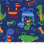 Dino Dudes on Navy Fabric