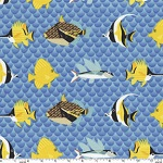 Pacfic Reef Fish Blue Fabric