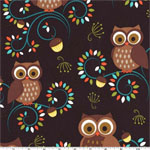 Happy Hooters Owls on Dark Brown Fabric
