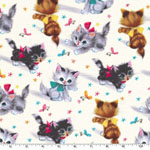 Kitties Vintage Style Print Fabric