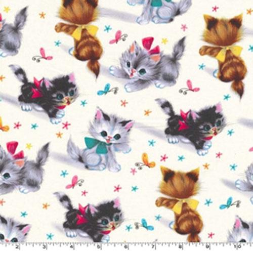 Kitties Vintage Style Print Fabric