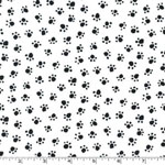 Paw Prints Black Paws on White Fabric