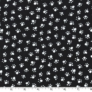 Paw Prints White Paws on Black Fabric