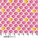 Puffy Bird Pink White Fabric