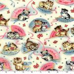 Smitten Kittens Vintage Style Print Fabric