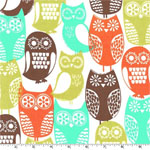Swedish Owls in Autumn Colors  Fabric