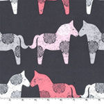 Wooden Horses Charcoal Fabric