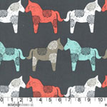 Wooden Horses Gray Fabric
