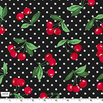 Cherry Dot Black Fabric
