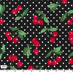 Cherry Dot Black Fabric