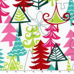 Yule Tree Multi Aqua Christmas Fabric